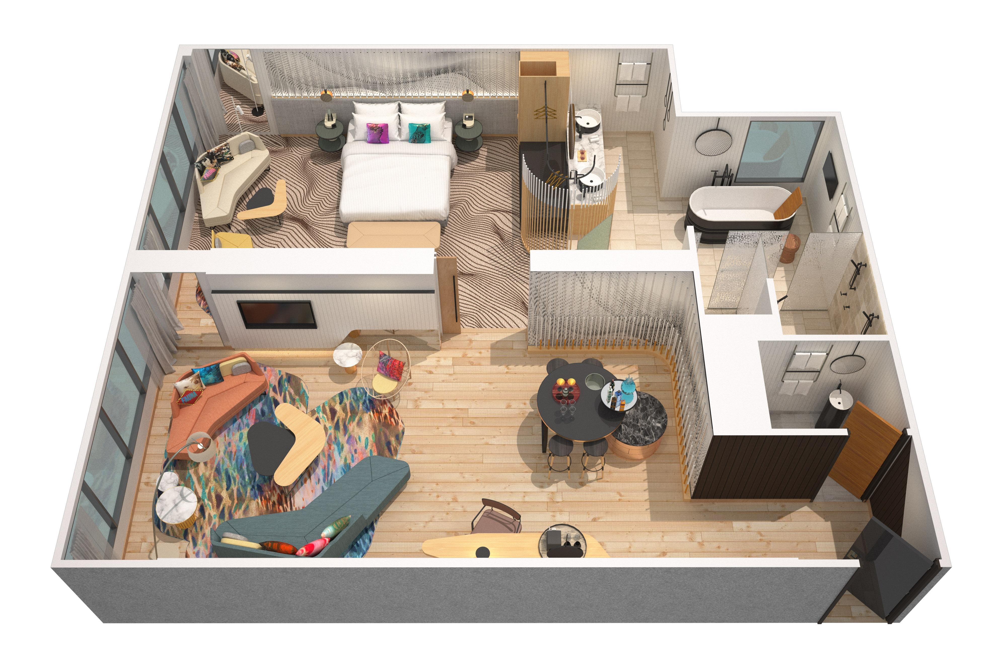 Plan d'étage des suites en 3D