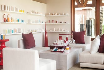 Spa Lounge Area with Clarins Products