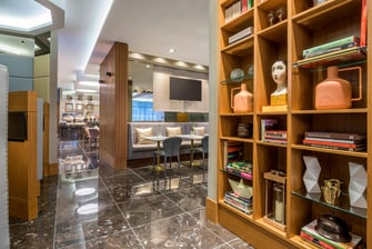 Aiport hotel lobby library