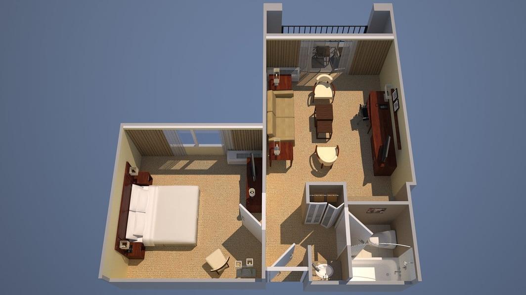 Suite mit einem Schlafzimmer mit einem Kingsize-Bett, Bettsofa