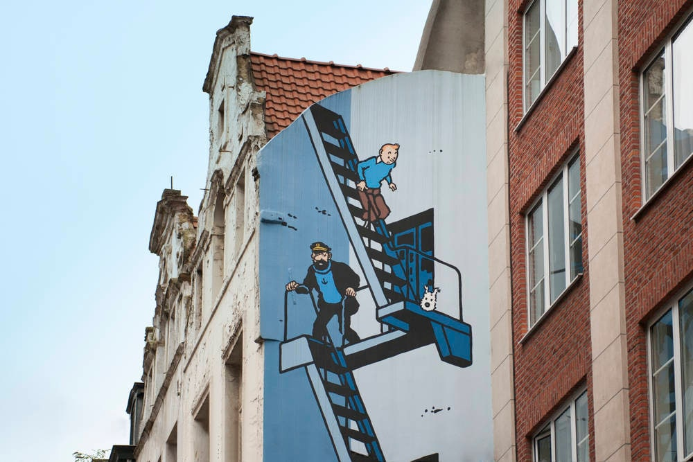 Cartoon wall Tintin