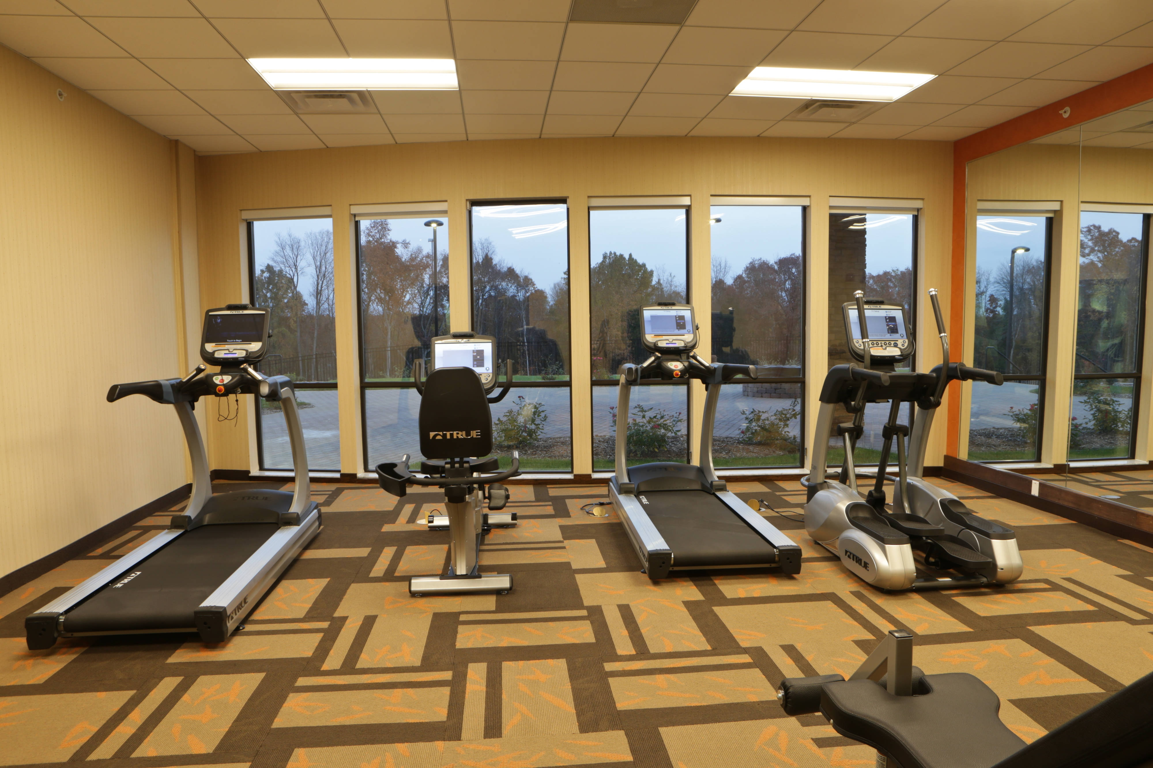 Our fitness center offers great views of our courtyard!