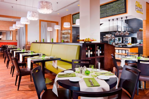 Mediterranean Restaurant features open kitchen