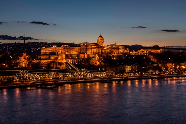 Budapest royal palace at night