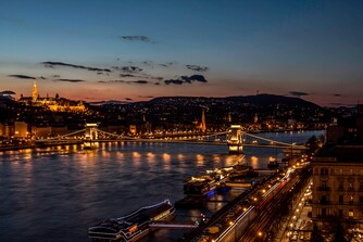 Budapest skyline at night