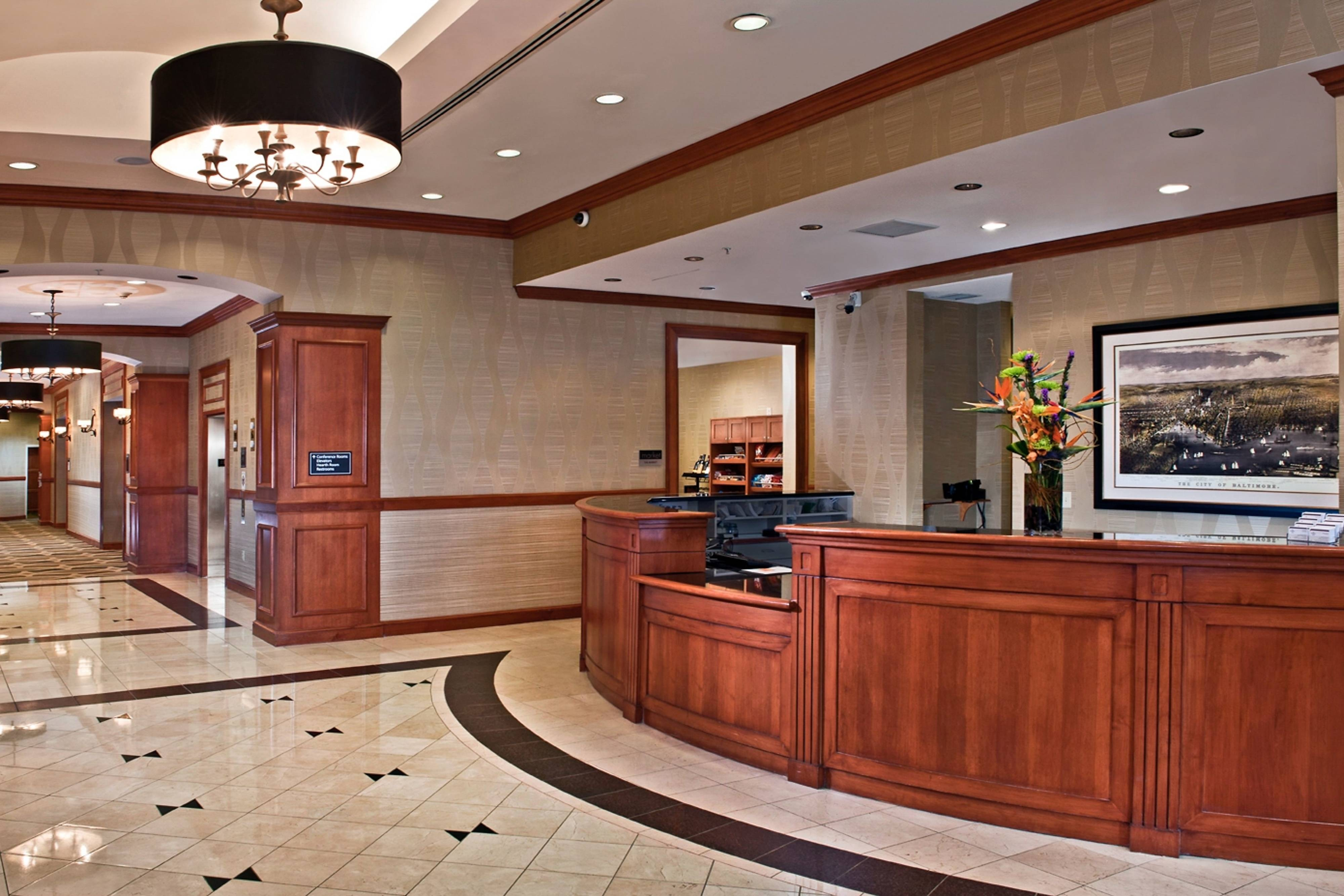 Downtown Baltimore hotel front desk