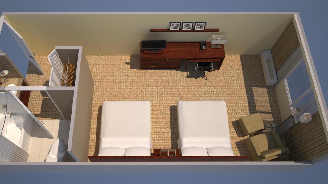 クイーン2台の客室