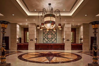 Luxury Cairo resort reception desk