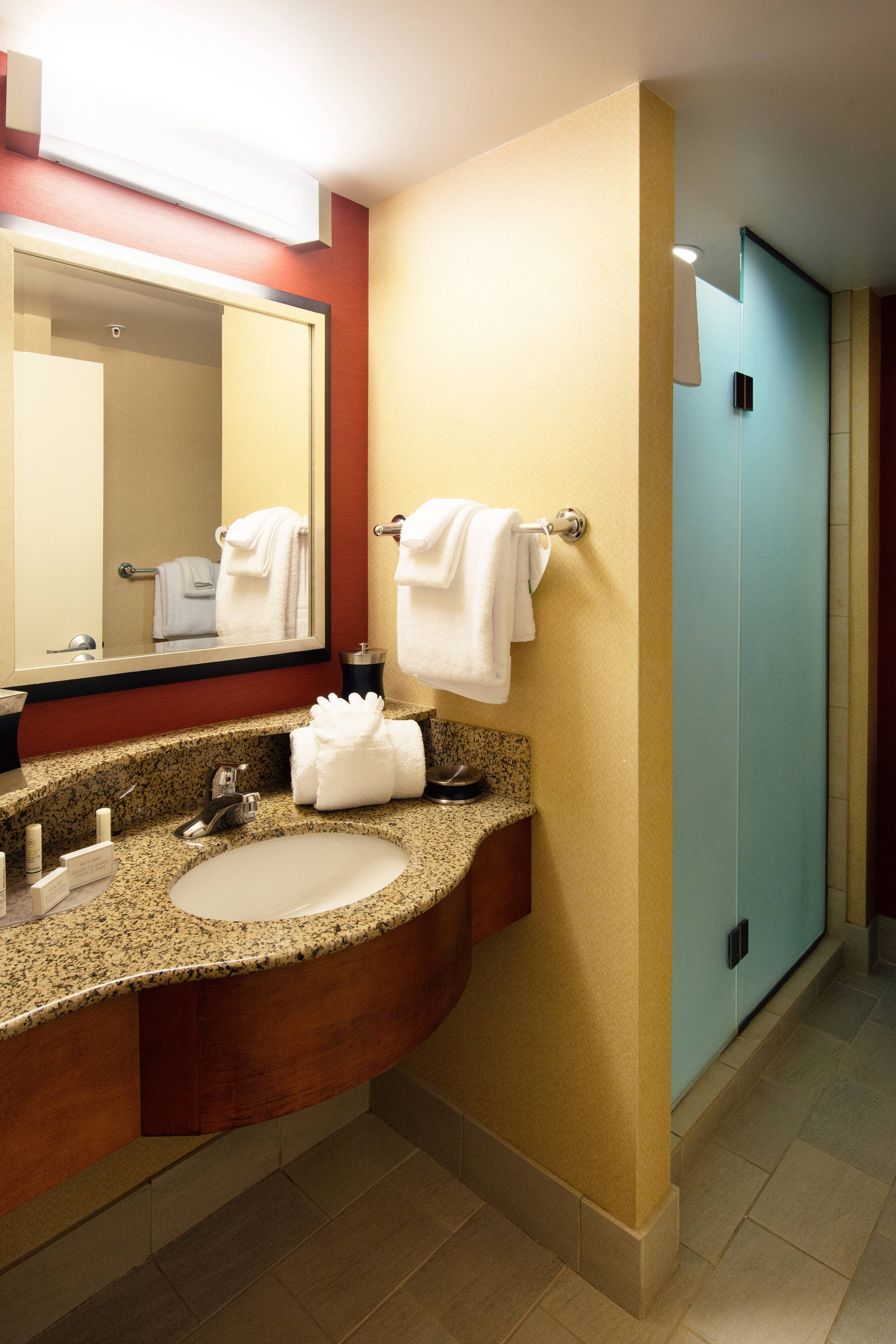 Guest bathroom in Canton hotel