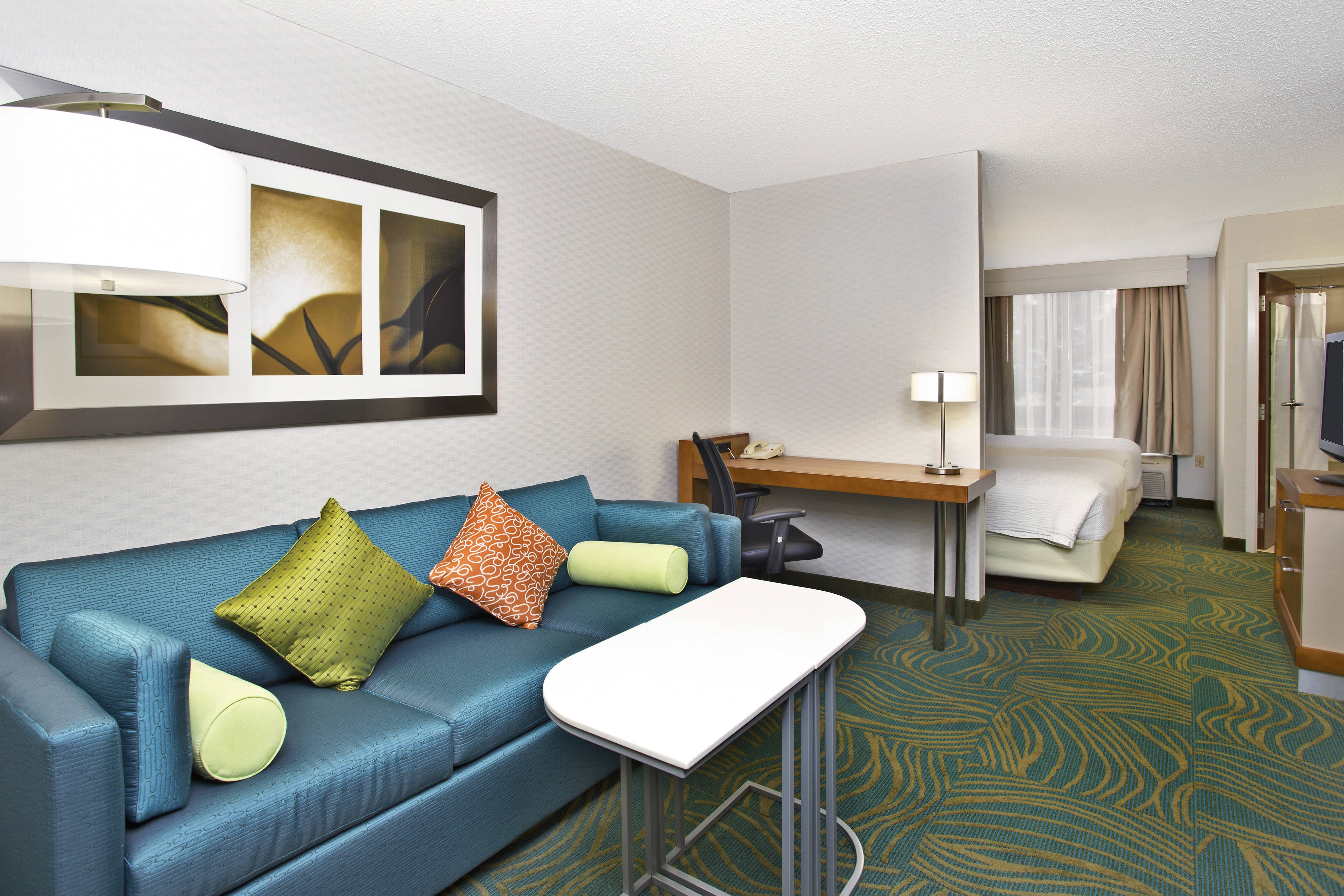 Double/Double Studio Suite Living Area SpringHill Suites Chicago Southwest at Burr Ridge/Hinsdale