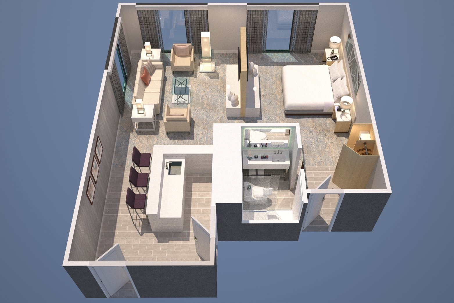 Grundriss einer Living-Suite