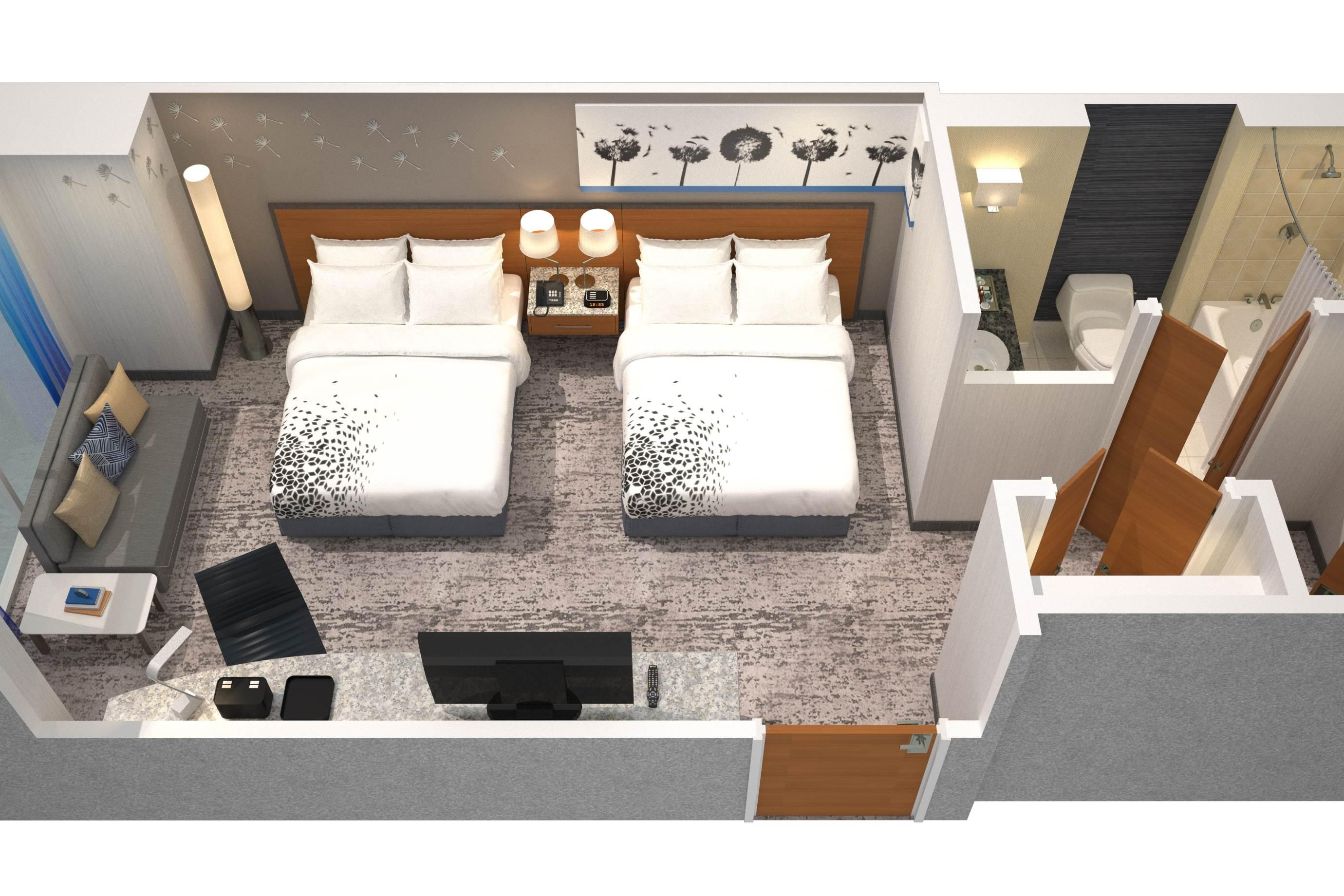Double/Double Guest Room Floor Plan