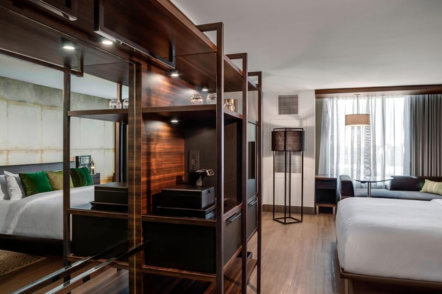 Modern upscale hotel guest room