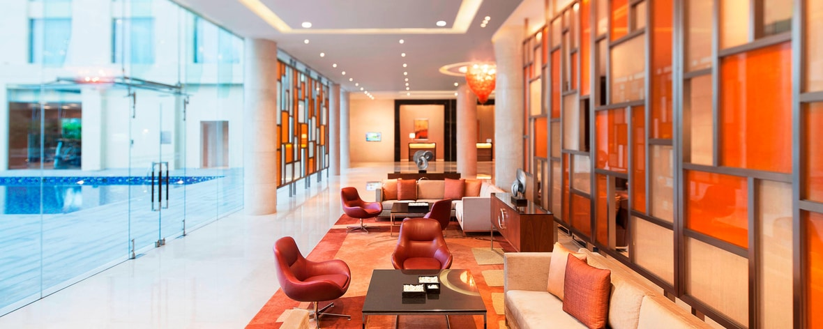 Lounge del lobby en Cochín, India