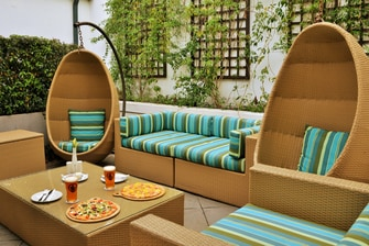 Poolside dining and lounge area