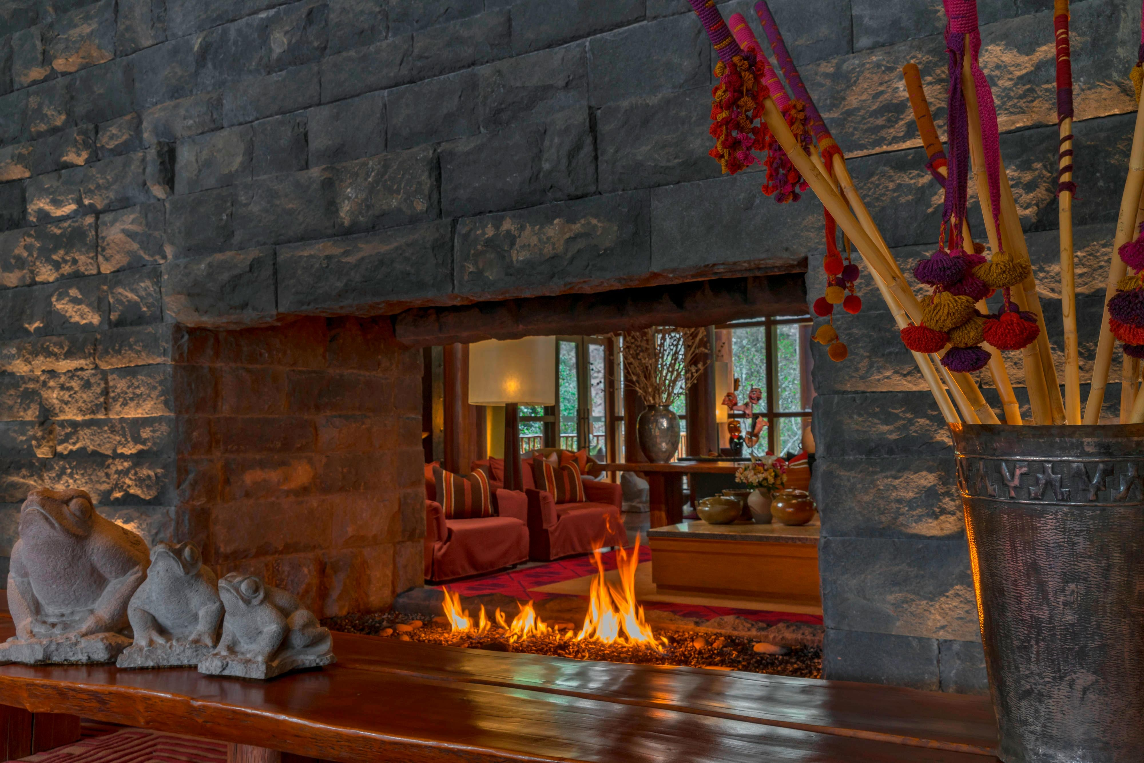 Lobby fire place