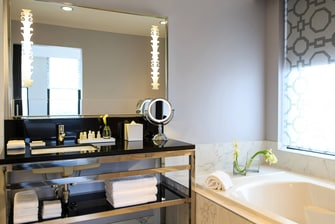 Suite bathroom in Cincinnati hotel
