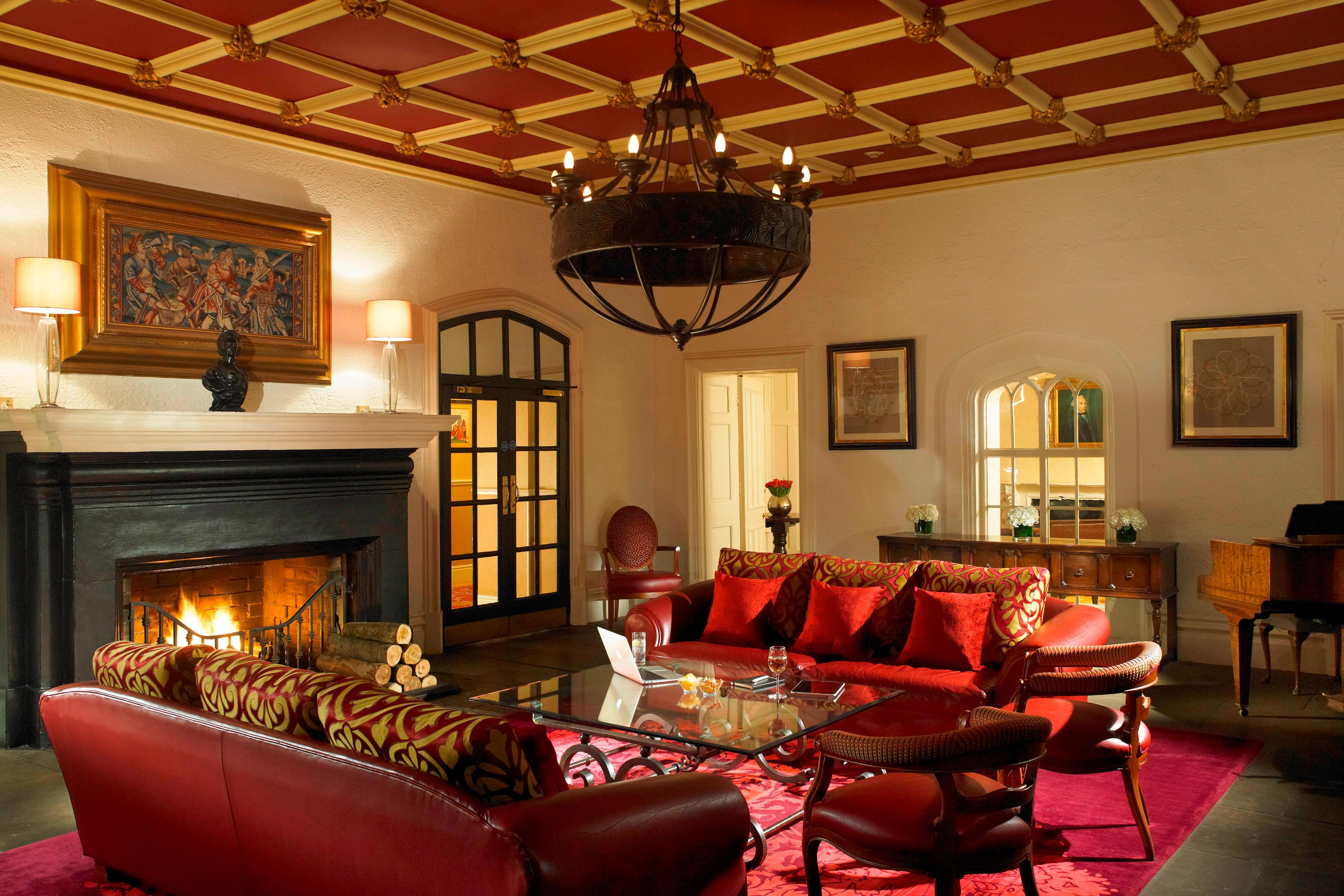 Sunken Lounge with roaring fire