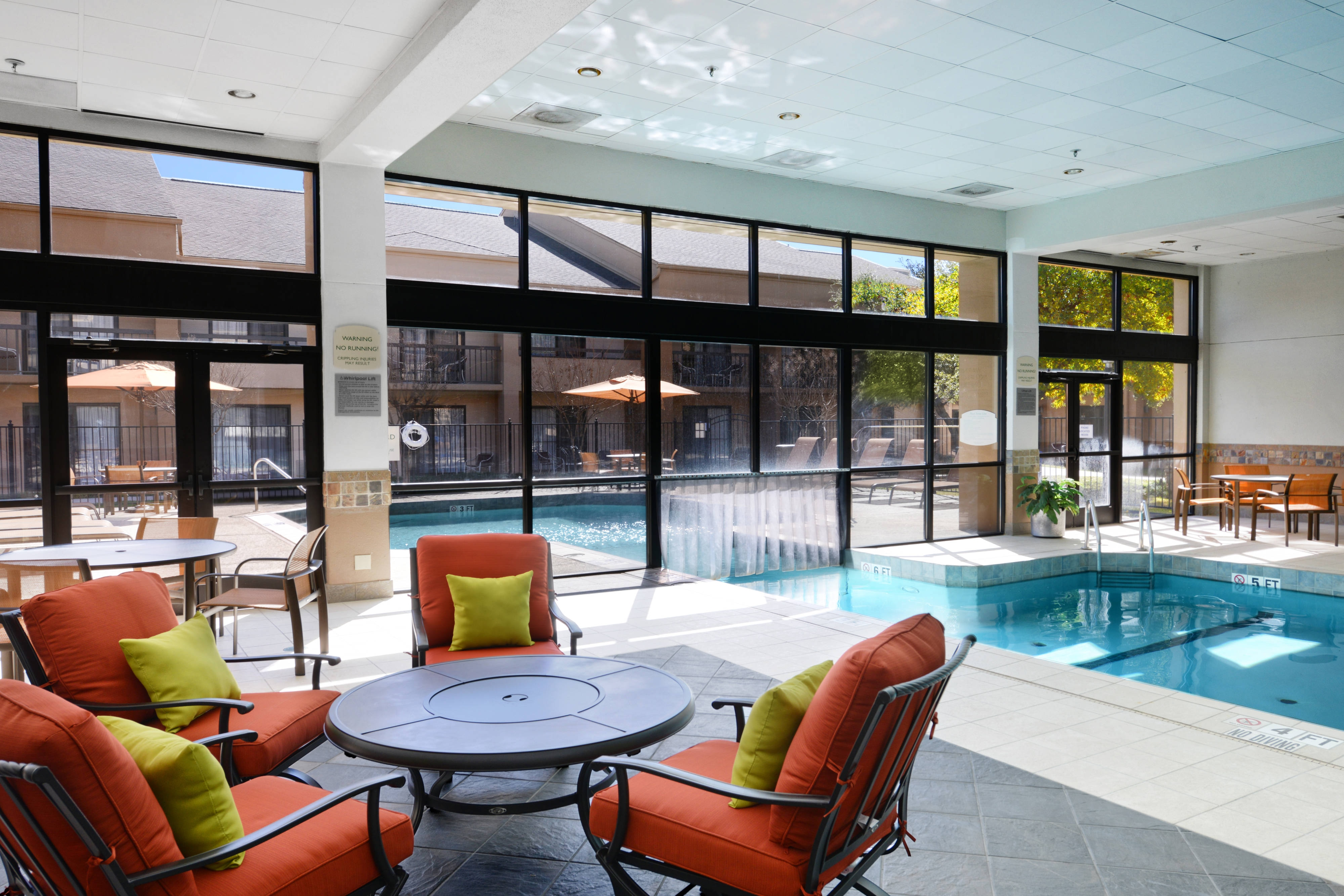 Indoor/Outdoor Pool with Poolside Seating