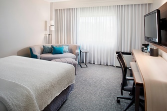 One King bed and sofa sleeper guest room