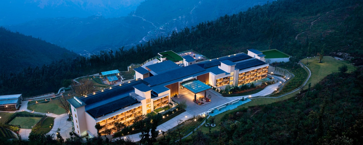 Resort in Himalayas, Arial view