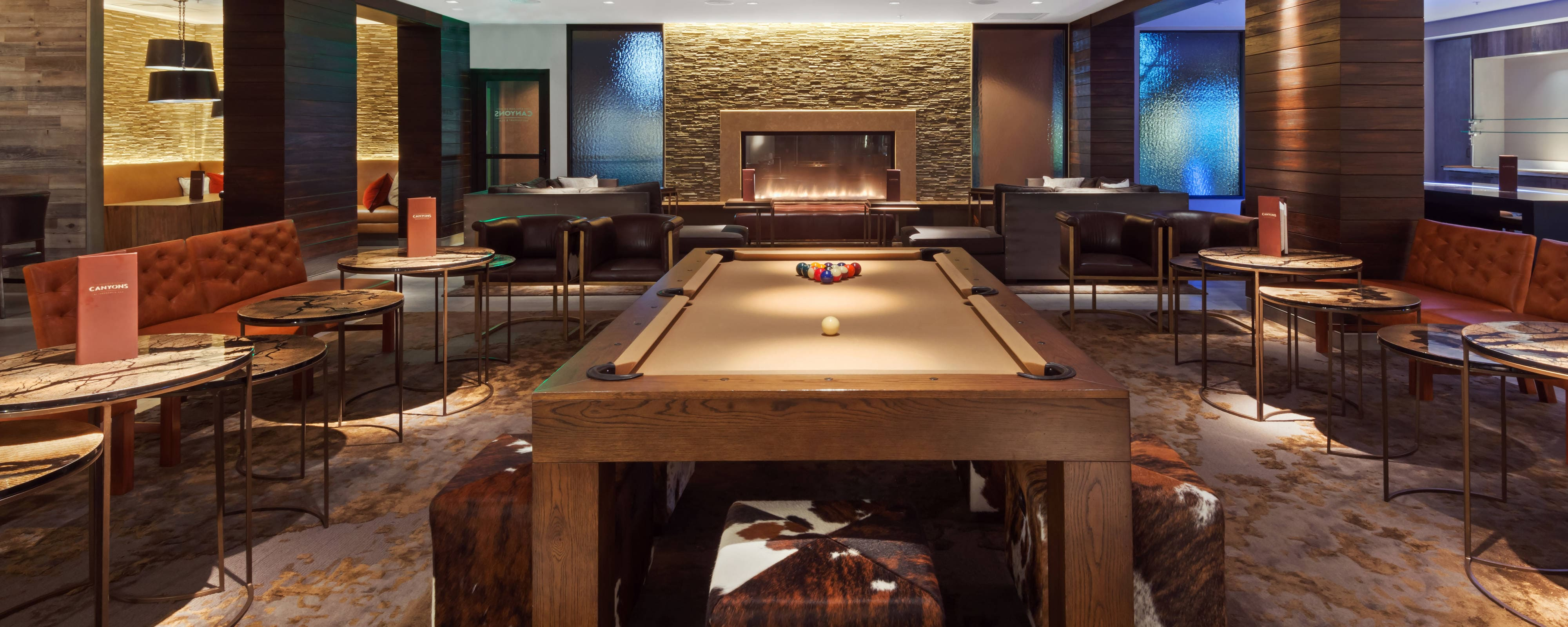 Pool Table, fireplace, seating