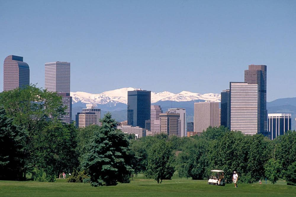 Downtown Denver Skyline and Rocky Mountains