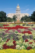 Capital building with spring flowers