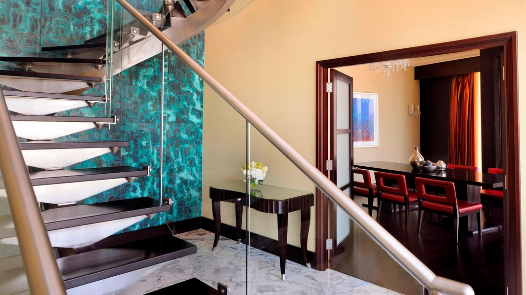 Luxury Doha hotel suite staircase
