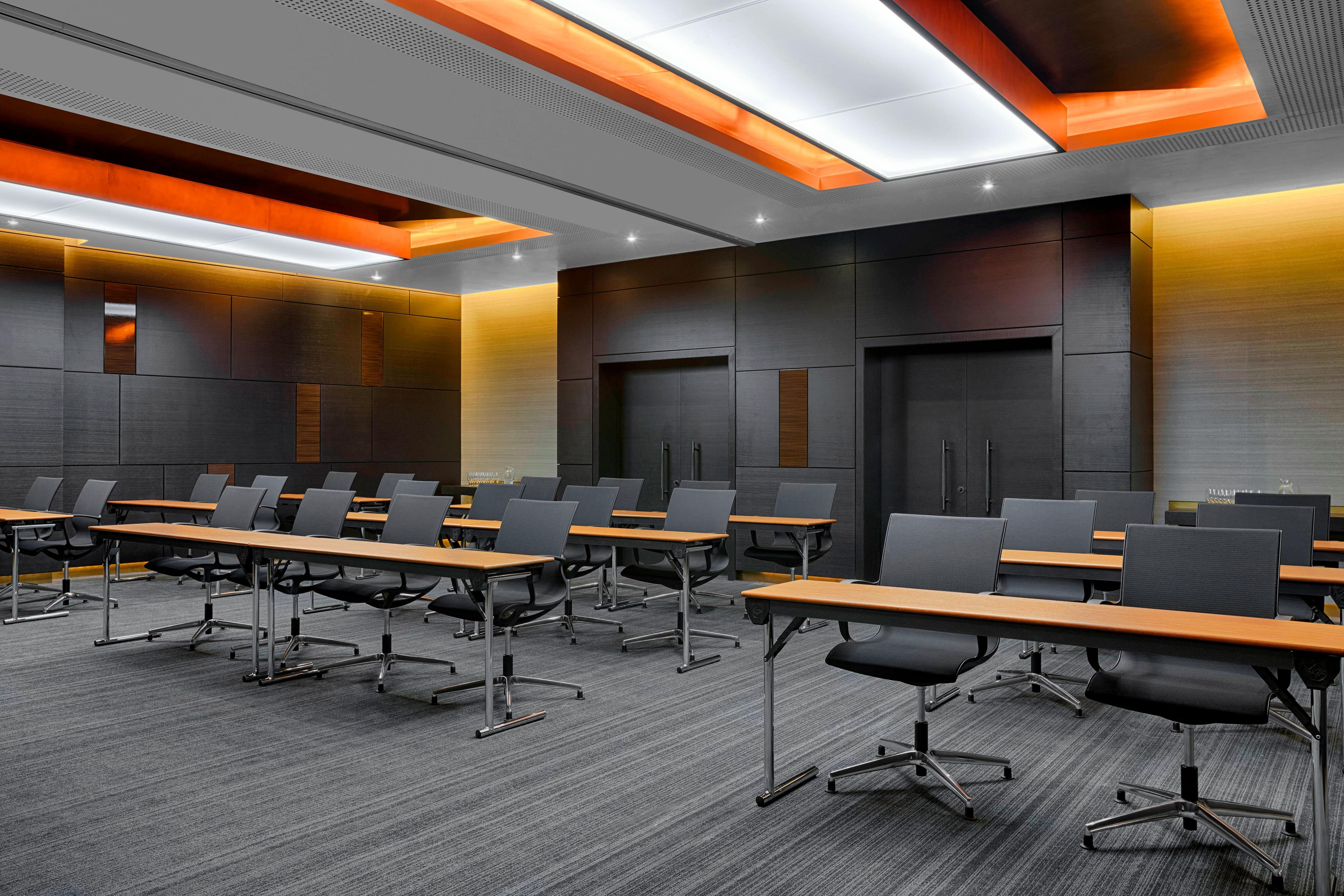 Every Meeting room and Board Room is equipped with state of the art lighting, full audio-visual service, and high-speed internet access. Multimedia presentations can easily be delivered via built-in projectors , as can online product demonstrations, training sessions and video conferences.