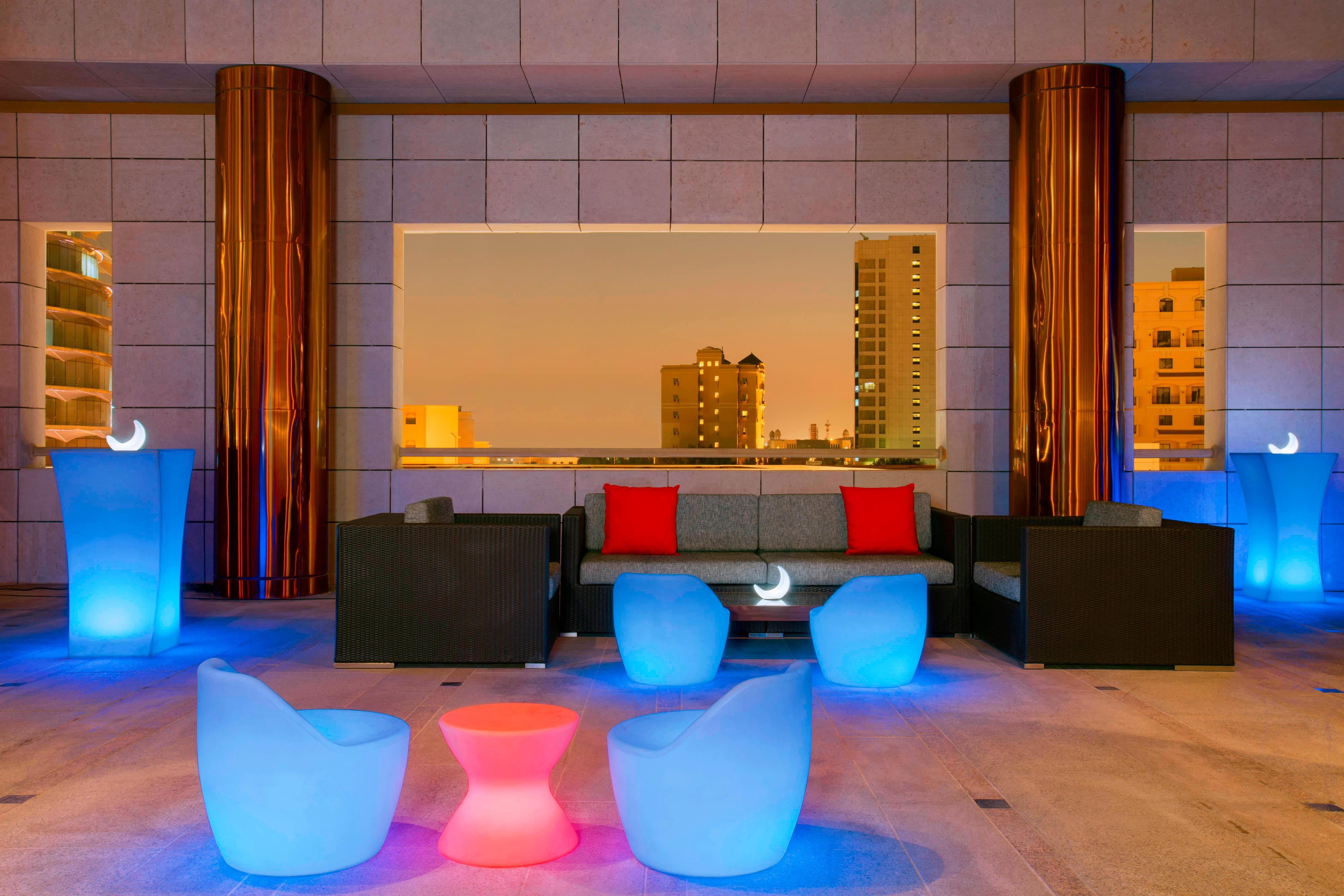The Mix Bar Terrace is a lively, soulful rooftop area – the coolest place to be on Doha's social scene. With a fantastic views over downtown Doha, guests can enjoy live performances every evening while enjoying their favorite drinks