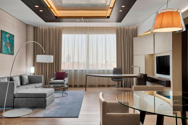 The layout of the Westin Suite offers plenty of space for the travelling professional, a place to decompress and stay productive.