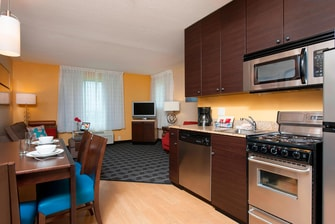 Kitchen at TownePlace Suites Johnston, IA