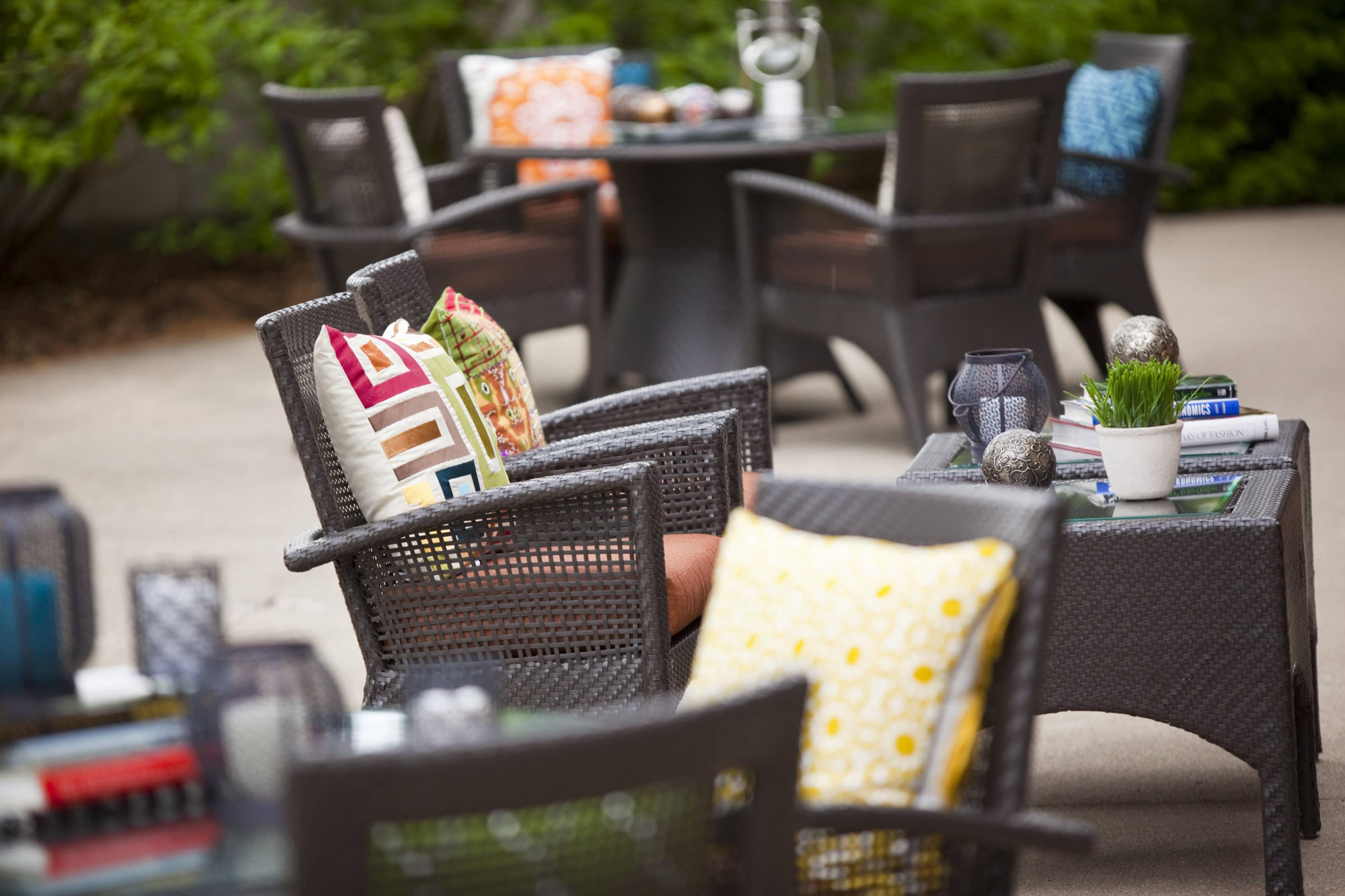 Outdoor woven tables and chairs