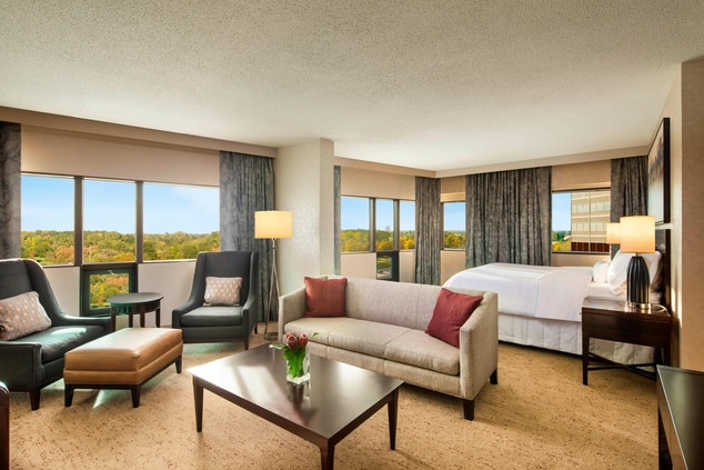 Deluxe Junior Corner Suite featuring a with seating Area