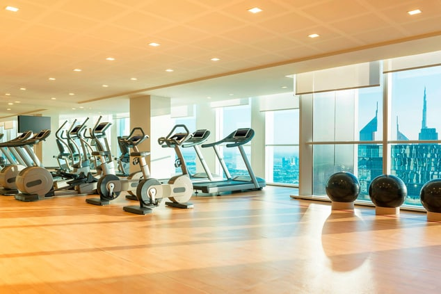 Stay fit at Fitness Center whilst travelling and enjoy the incredible Views of the Sheikh Zayed Road