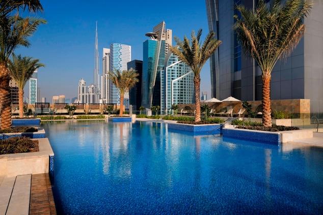 Dubai hotel pool with view