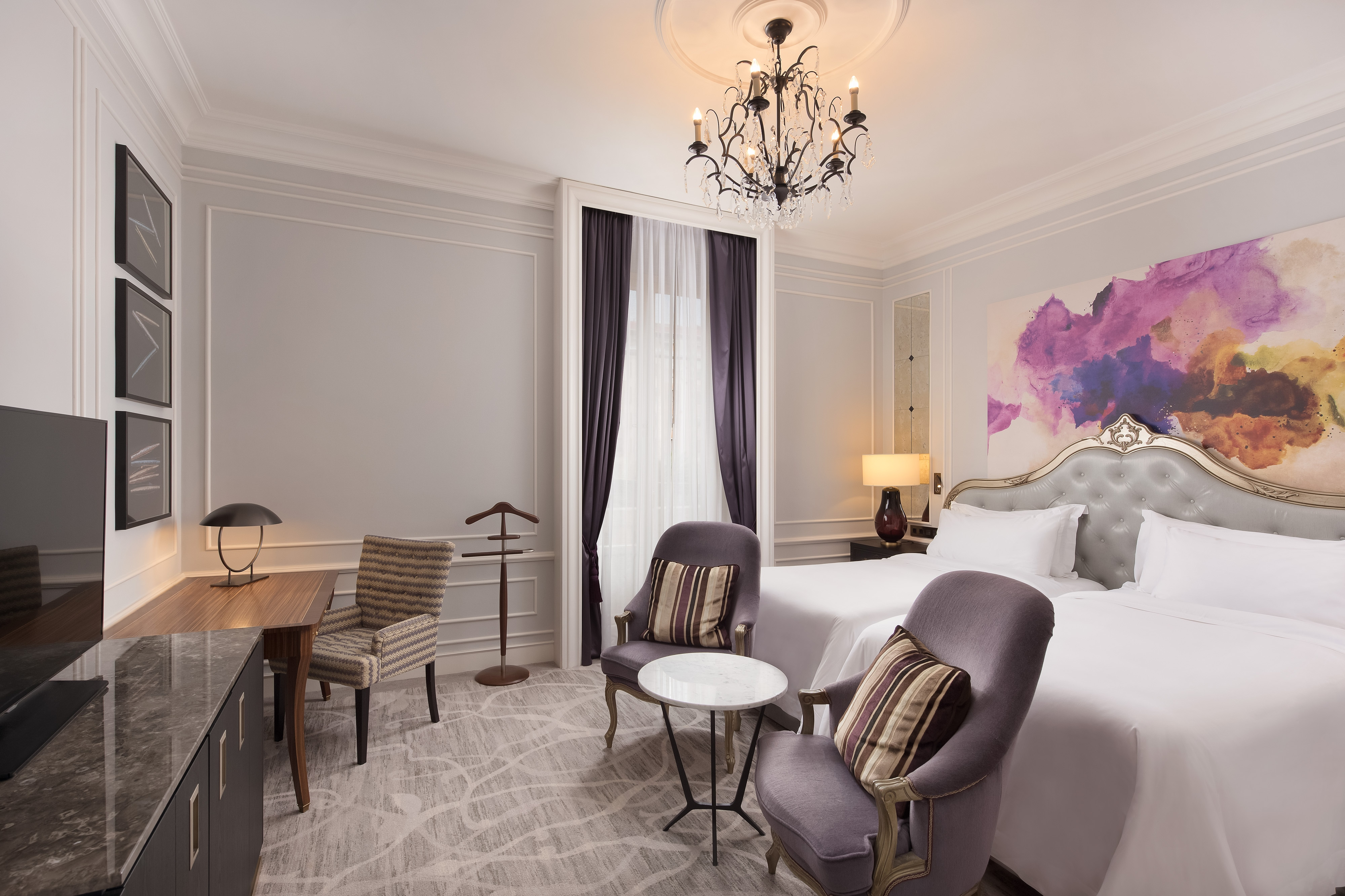 Chambre Deluxe avec deux lits simples et vue sur le jardin