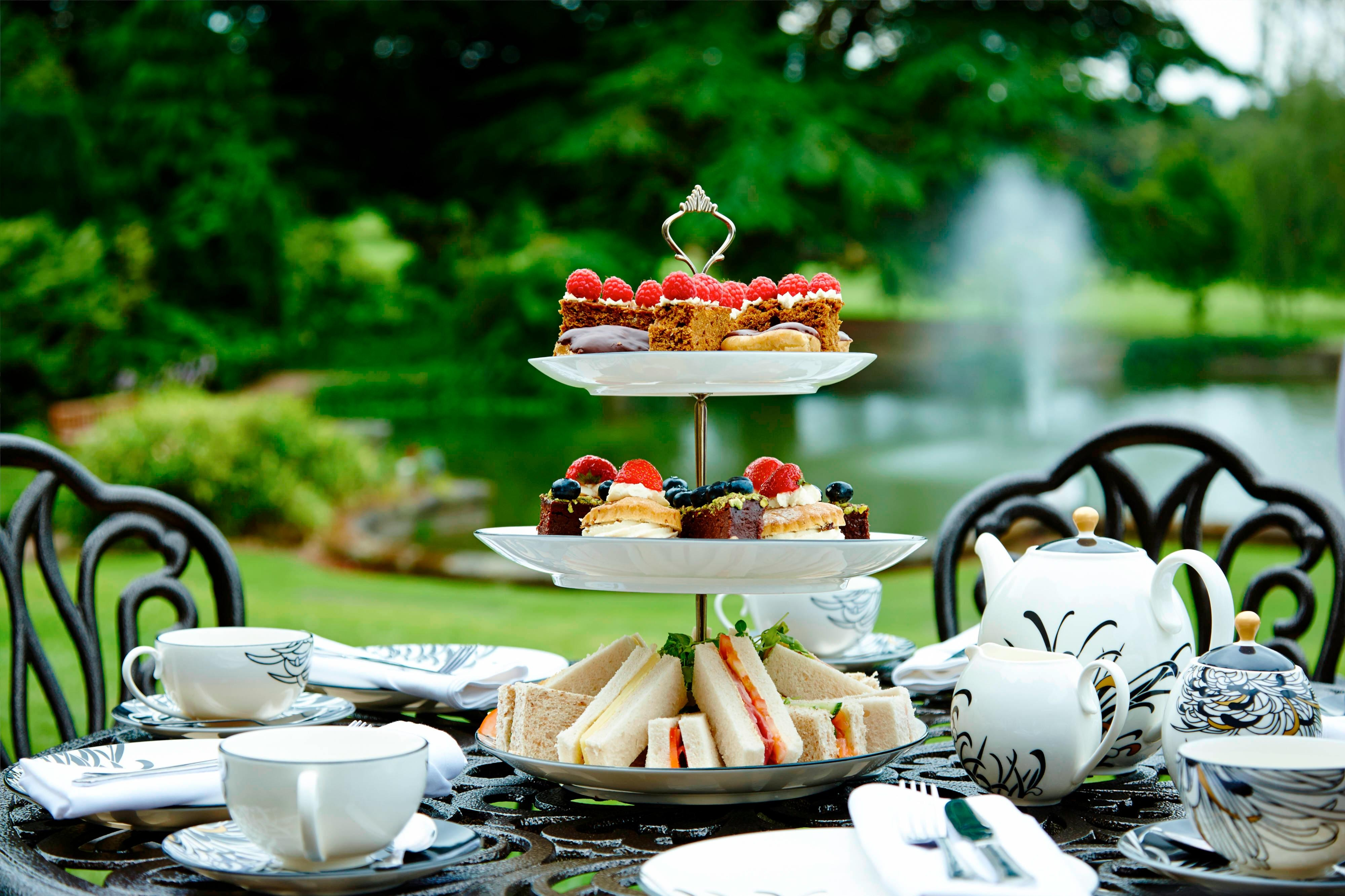 Afternoon tea on the patio at Breadsall Priory