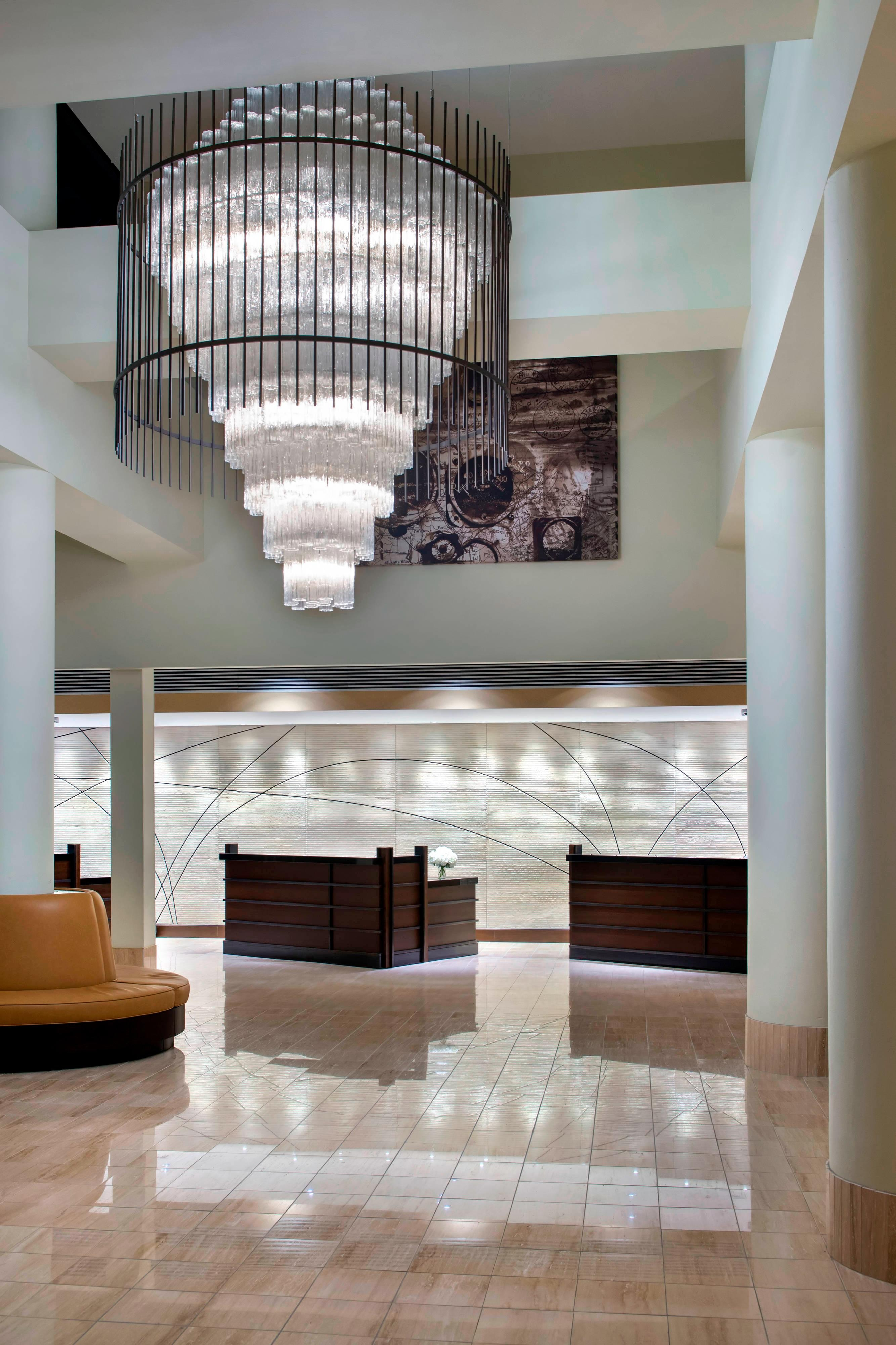 Reception desks in EWR hotel