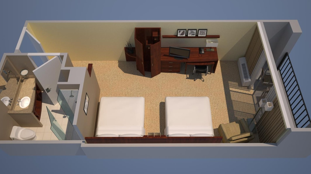 Guest Room - Two Queen Beds, Courtyard View, Balcony