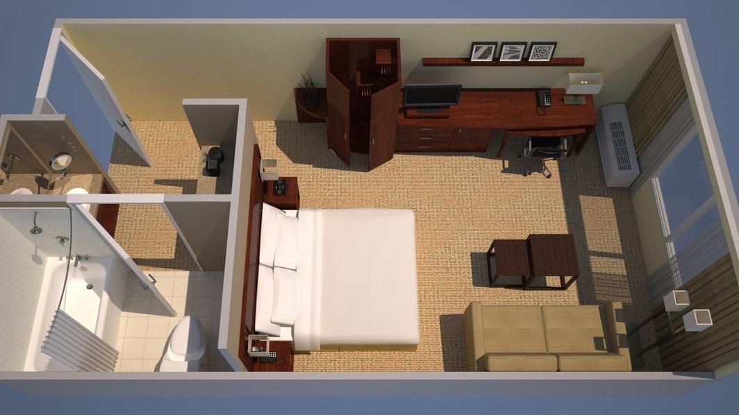 Plan en 3D d'une chambre avec lit king size