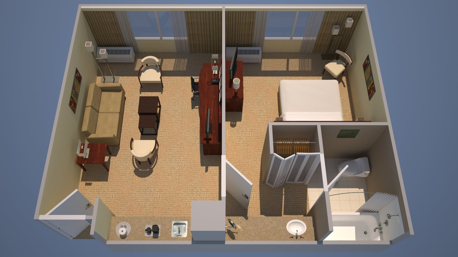 1 Bedroom Suite 3D Floorplan