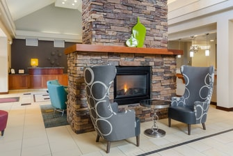 Lobby seating near fireplace