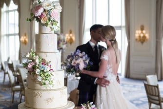 Wedding Cake in Ballroom