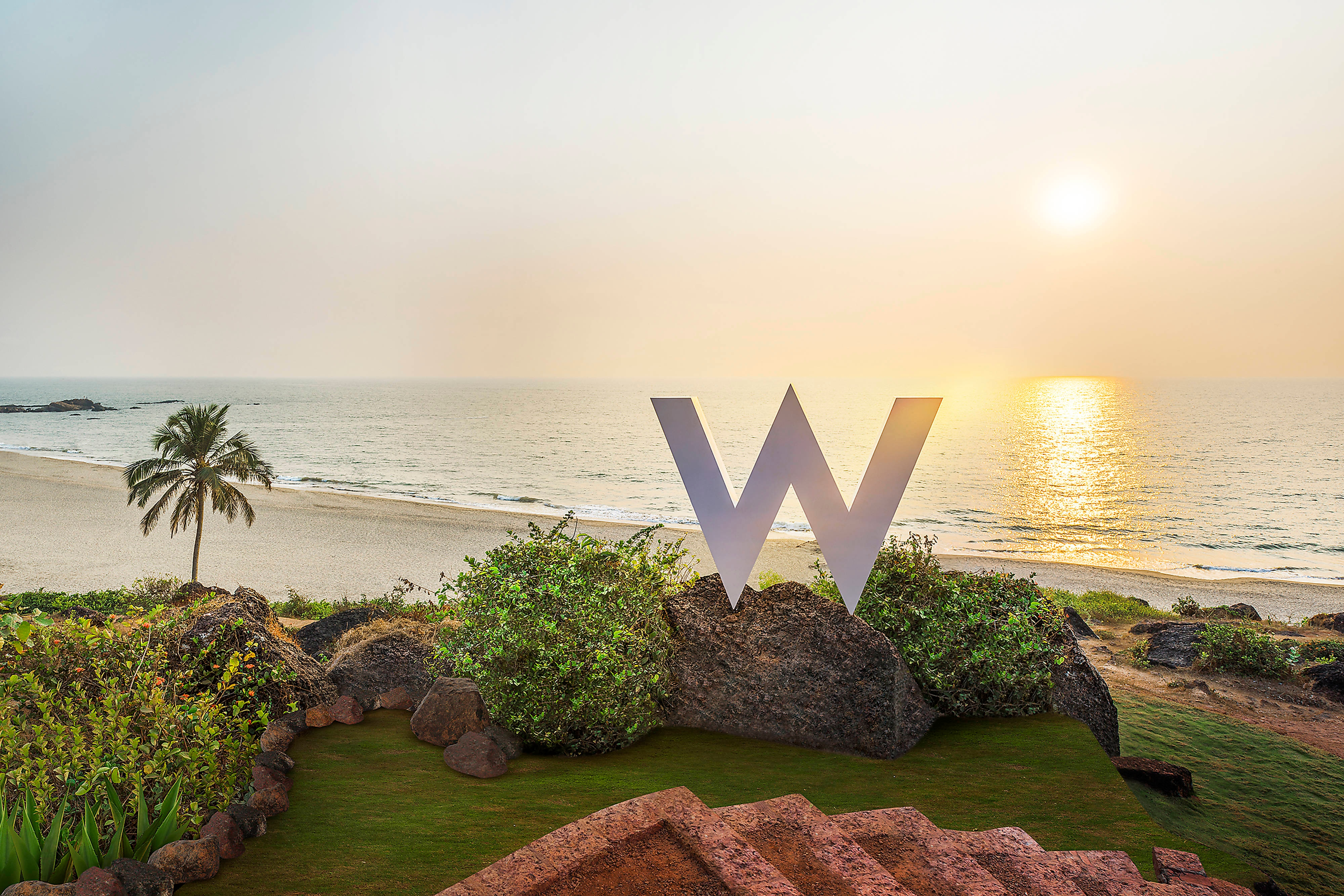 W sign on beach grounds
