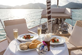 Dining on the Deck of Born Free Yacht