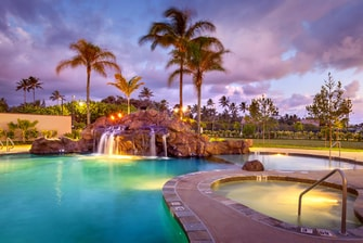 Oahu hotel pool with waterfall