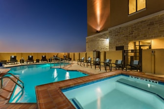 Outdoor Pool & Spa at Night