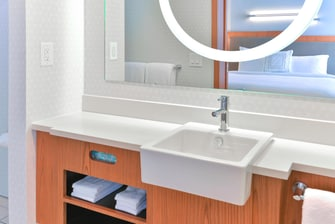 Bathroom Vanity with well-lit mirror